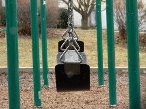 A sideways view of swings